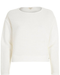 River Island White Ottoman Ribbed Texture Sweatshirt