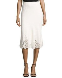 Rebecca Taylor Textured Midi Skirt With Lace Hem White