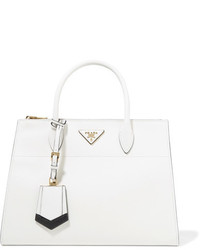 Prada Paradigme Textured Leather Tote White