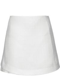 White Textured Mini Skirt