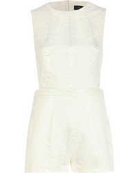 River Island White Snake Jacquard Cut Out Romper