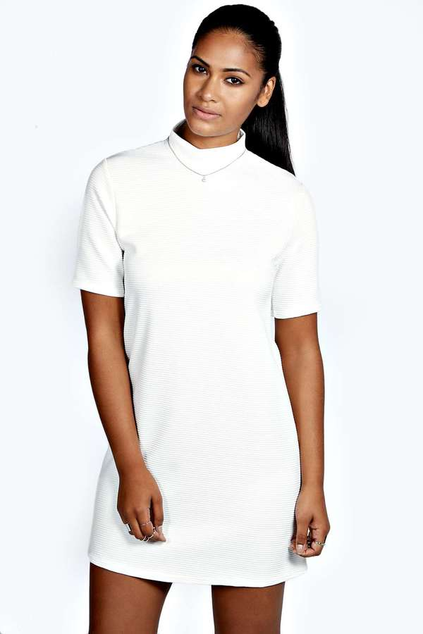 5f41b54e07 $26, Boohoo Bianca Turtle Neck Textured Shift Dress
