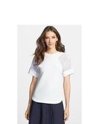 White Textured Short Sleeve Blouse