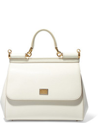 Dolce & Gabbana Sicily Medium Textured Leather Tote White