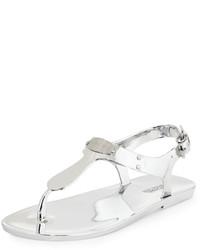 9279136e1061 ... MICHAEL Michael Kors Michl Michl Kors Mk Plate Jelly Flat Thong Sandal  Silver