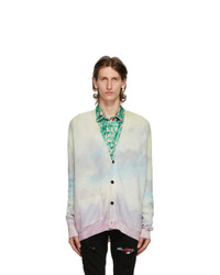 Amiri White Cashmere Watercolor Cardigan