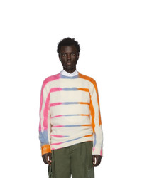 The Elder Statesman Off White And Pink Cashmere Ladder Dye Sweater
