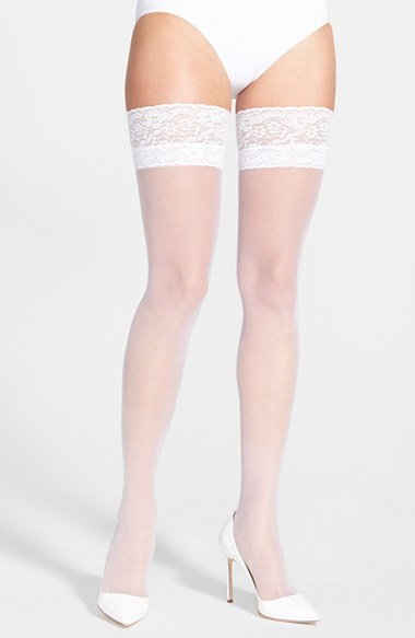 Betsey Johnson Embellished Thigh High Tights