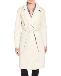 Faux shearling wrap trench coat medium 3641145