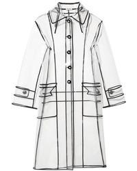 Miu Miu Grosgrain Trimmed Pvc Trench Coat White