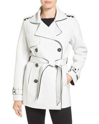 Raw edge short trench coat medium 785204