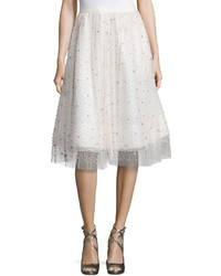 Alice + Olivia Catrina Embellished A Line Skirt Cream