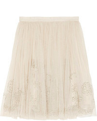 Needle thread bead embellished tulle mini skirt medium 83995