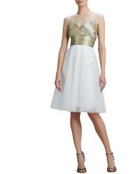 Beaded v neck cocktail dress with tulle skirt medium 55064