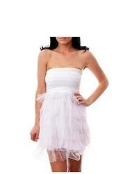 G2 Chic Strapless Tiered Tulle And Sequin Party Dress