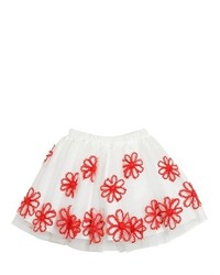 Il Gufo Floral Embroidered Stretch Tulle Skirt