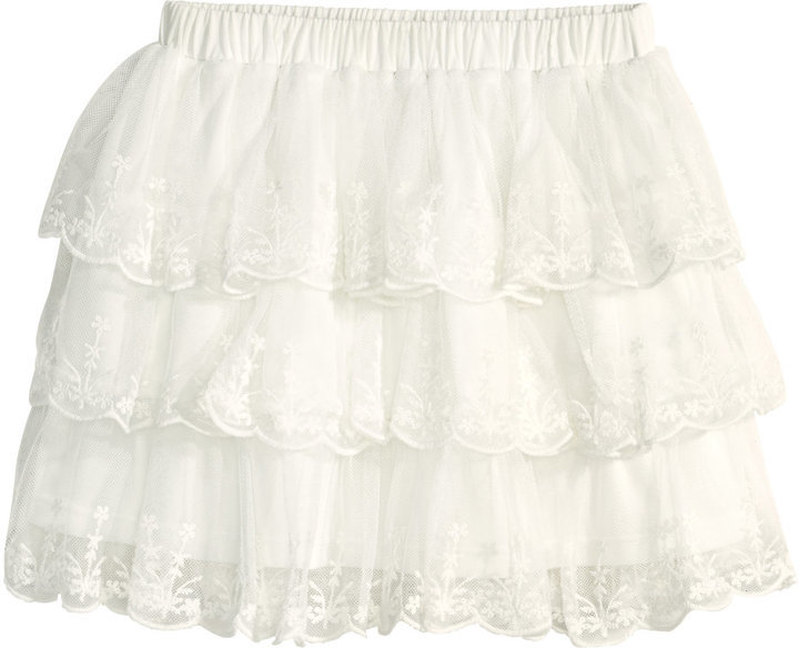 f8b9082eaed ... H M Tiered Tulle Skirt Natural White ...