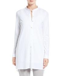 Eileen Fisher Cotton Jersey Mandarin Collar Tunic
