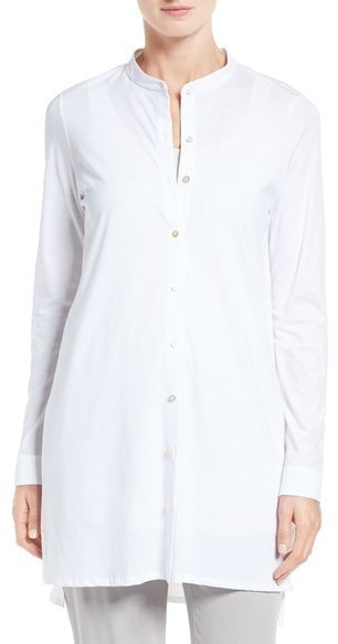 d9827a959e1a Eileen Fisher Cotton Jersey Mandarin Collar Tunic, $158 | Nordstrom ...