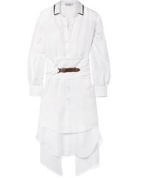 Brunello Cucinelli Oversized Embellished Silk Twill Shirt