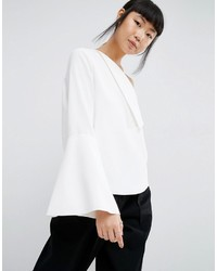 Asos White White Foldover Detail Top With Wide Sleeve