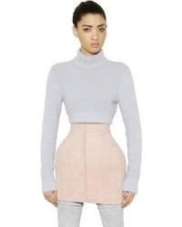 Balmain Cropped Angora Turtleneck Sweater