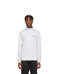 Champion Reverse Weave Grey Small Script Logo Turtleneck