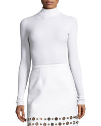 Michael Kors Michl Kors Collection Ribbed Long Sleeve Turtleneck Sweater White