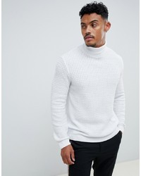 ASOS DESIGN Muscle Fit Cable Roll Neck Jumper In White
