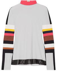 NO KA 'OI No Kaoi Naka Paneled Stretch Jersey Turtleneck Top Off White