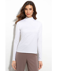 St. John Collection Fine Jersey Turtleneck Shell Bright White X Large