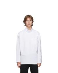 Engineered Garments White Mock Neck Long Sleeve T Shirt