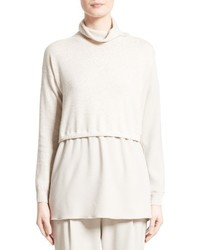 Fabiana Filippi Wool Silk Cashmere Layered Turtleneck