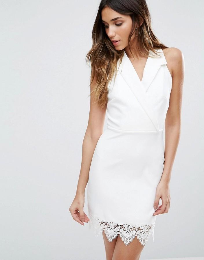 1053656d7a90 ... White Tuxedo Dresses Girls On Film Blazer Dress With Crochet Hem ...