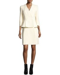 Alexander McQueen Deep V Tuxedo Coat Dress Ivory