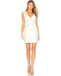 PIERRE BALMAIN Double Breasted Wrap Dress In White