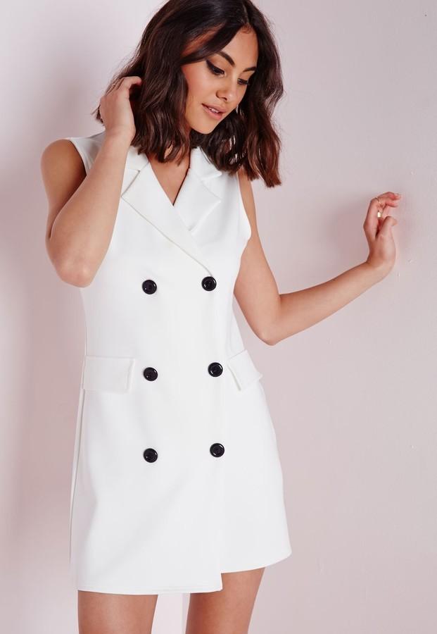 7d8685f67fe ... Missguided Scuba Sleeveless Blazer Dress White ...