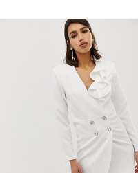 River Island Tailored Tux Dress In White