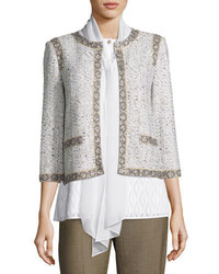 Collection kira tweed 34 sleeve jacket whitemulti medium 1149639