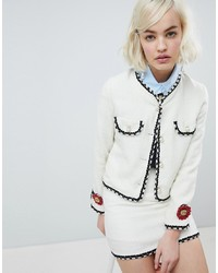 Sister Jane Cropped Tailored Jacket With Pearl Trims In Tweed Co Ord Tweed