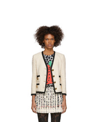 Gucci Off White Tweed Buttons Blazer