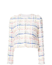 Thom Browne Single Breasted Sack Jacket With Exposed Pockets Belt Tipping In Salt Shrink Cotton