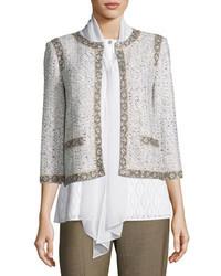 St. John Collection Kira Tweed 34 Sleeve Jacket Whitemulti