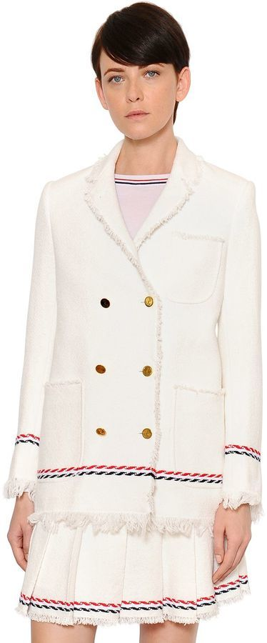 2cfd3808e1 Thom Browne Double Breasted Cotton Tweed Jacket, $1,900 ...