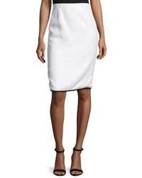 Oscar de la Renta Contrast Trim Tweed Pencil Skirt Whiteblack