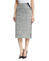 Oscar de la Renta High Waist Tweedleather Pencil Skirt Blackivory