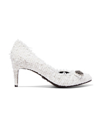 White Tweed Pumps
