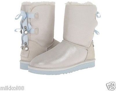 2d1a062716a $294, UGG Australia Bailey Bow I Do Boots White Sz 6 8 New