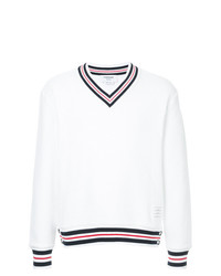 Thom Browne Boxy V Neck Pullover With Cricket Stripe In Chunky Basket Stitch