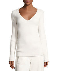 The Row Candice Ribbed V Neck Sweater
